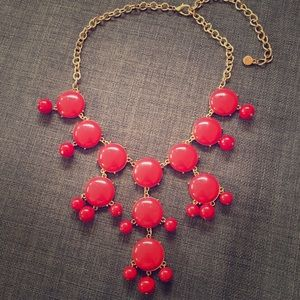 Red acrylic statement necklace